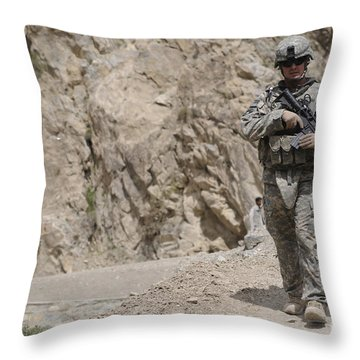 Airman Provides Security During Combat Throw Pillow by Stocktrek Images