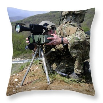 Airmen Participate In A Training Throw Pillow by Stocktrek Images