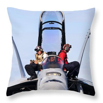 Airmen Perform A Weapons Release Check Throw Pillow by Stocktrek Images