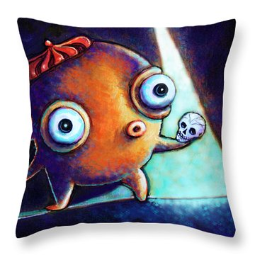 Throw Pillow featuring the painting Alas Poor Yorick by Leanne Wilkes