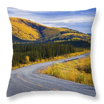 Alaska Highway Near Beaver Creek Throw Pillow by Yves Marcoux