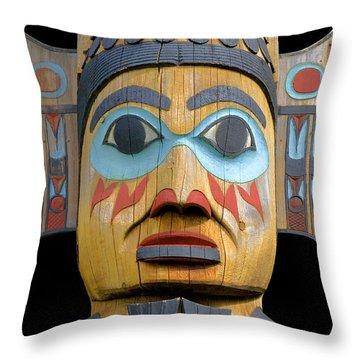 Alaska Totem Throw Pillow by Mark Greenberg