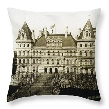 Albany New York - State Capitol Building - C 1900 Throw Pillow by International  Images
