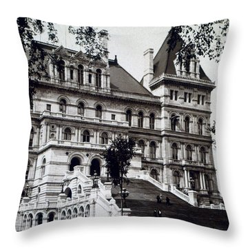 Albany New York - State Capitol Building - C 1903 Throw Pillow by International  Images