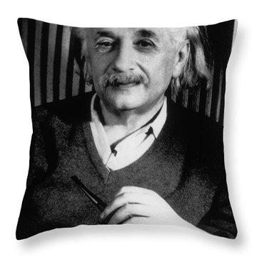 Albert Einstein, German-american Throw Pillow by Science Source