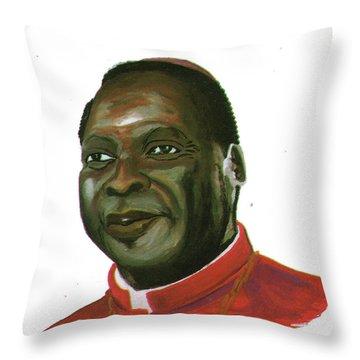 Albert Ndongmo Throw Pillow by Emmanuel Baliyanga