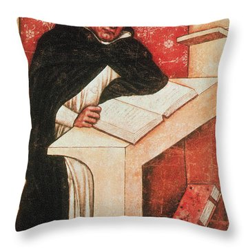 Albertus Magnus, Medieval Philosopher Throw Pillow by Photo Researchers