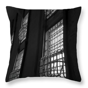 Alcatraz Federal Penitentiary Cell House Barred Windows Throw Pillow by Daniel Hagerman