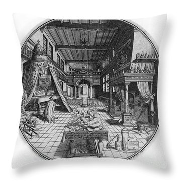 Alchemists Laboratory, 1595 Throw Pillow by Science Source