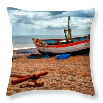 Aldeburgh Fishing Boat Throw Pillow