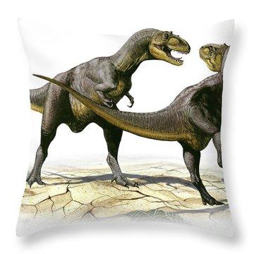 Alectrosaurus Olseni, A Prehistoric Throw Pillow by Sergey Krasovskiy