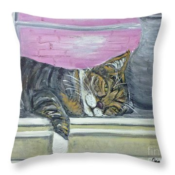 Alex On Windowsill  Throw Pillow