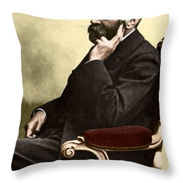 Alfred Nobel, Swedish Chemist Throw Pillow by Science Source