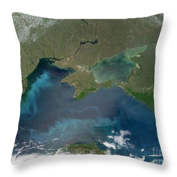 Algal Blooms In The Black Sea Throw Pillow by NASA / Science Source