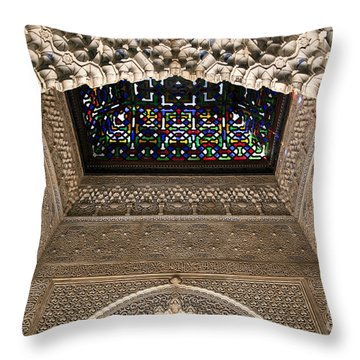 Alhambra Stained Glass Detail Throw Pillow by Jane Rix