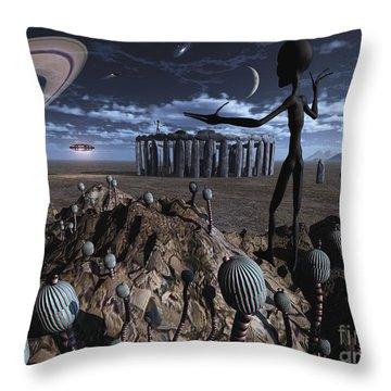 Alien Explorers On An Alien World Throw Pillow by Mark Stevenson
