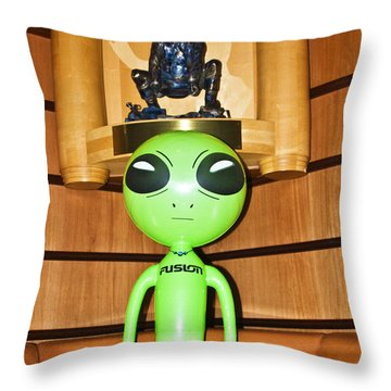 Alien In The Corner Booth Throw Pillow
