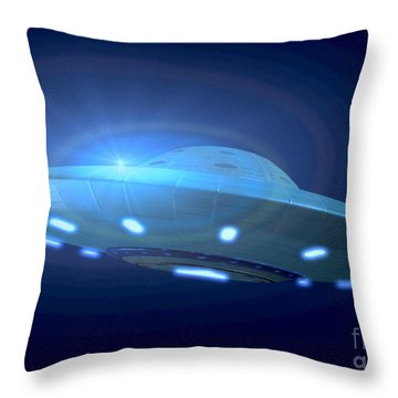 Alien Spacecraft Throw Pillow by Gregory MacNicol and Photo Researchers