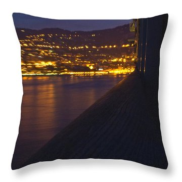 Alien Spacecraft Over Villefranche Throw Pillow