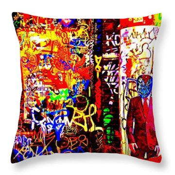 Aliens In Suits Throw Pillow by Randall Weidner