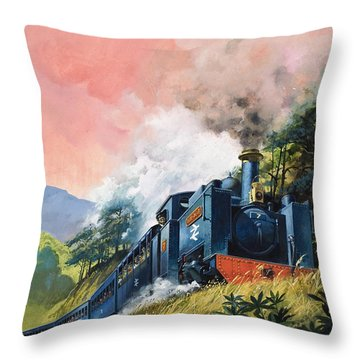 All Aboard For Devil's Bridge Throw Pillow by English School