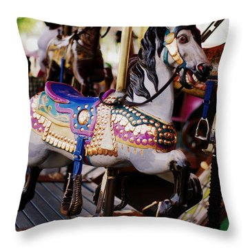 All The King's Horses Throw Pillow by Linda Mishler