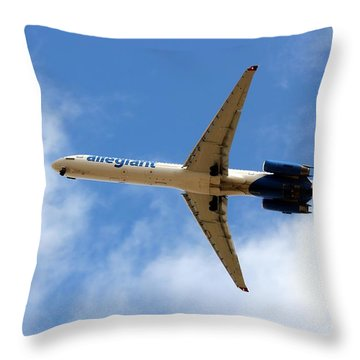 Throw Pillow featuring the photograph Allegiant Plane In Flight  by Yumi Johnson