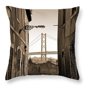 Alley And Bridge Throw Pillow by Carlos Caetano