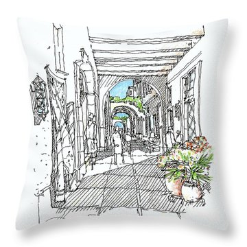 Alley Storefronts Throw Pillow