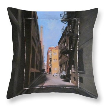 Alley With Red And Tan Buildings Layered Throw Pillow by Anita Burgermeister