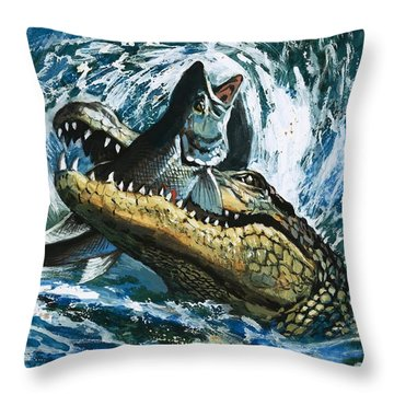 Alligator Eating Fish Throw Pillow by English School