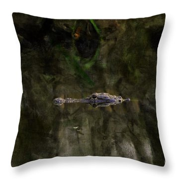 Throw Pillow featuring the photograph Alligator In Swamp by Dan Friend