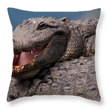 Throw Pillow featuring the photograph Alligator Smile by Art Whitton