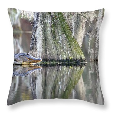 Throw Pillow featuring the photograph Alligator Waiting For Dinner by Dan Friend