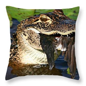Alligator With Bird Throw Pillow