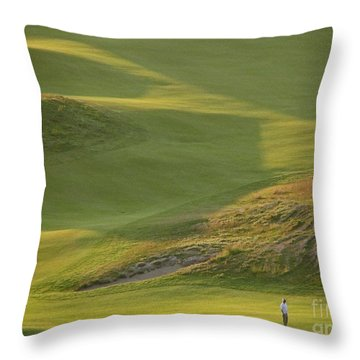 Throw Pillow featuring the photograph Almost Done - Chambers Bay Golf Course by Chris Anderson
