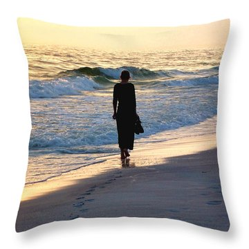 Alone At The Edge Throw Pillow