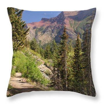 Along St. Mary's Lake Trail Throw Pillow by Marty Koch