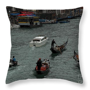 Along The Canal Throw Pillow by Vivian Christopher