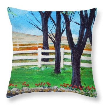 Throw Pillow featuring the painting Along The Lane by Dan Whittemore