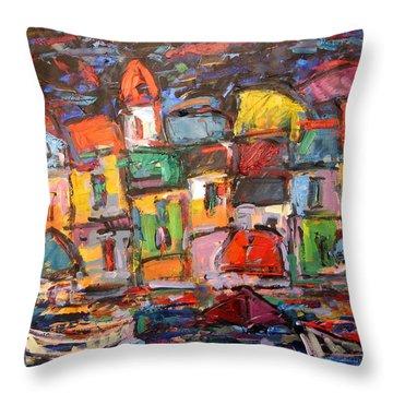 Amalfi At Night Throw Pillow