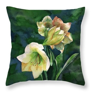 Throw Pillow featuring the painting Amaryllis by Sharon Mick