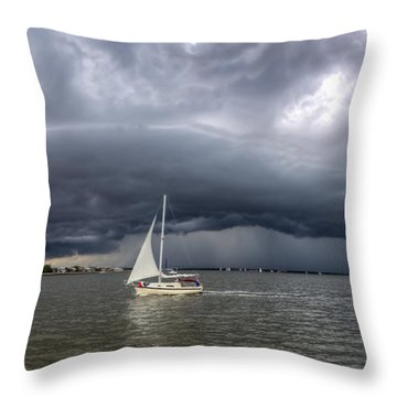 Amazing Storm Clouds And Sailboat Charleston Sc Throw Pillow by Dustin K Ryan