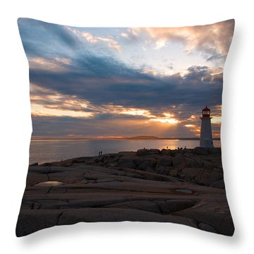 Amazing Sunset At Peggy's Cove Throw Pillow by Andre Distel