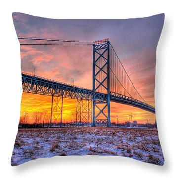 Ambassador Bridge Sunrise 1-16-2012  Detroit Mi Throw Pillow