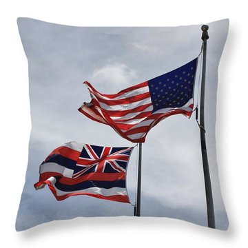 American And State Of Hawaii Flags Throw Pillow by Craig Wood
