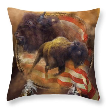 American Buffalo Throw Pillow by Carol Cavalaris