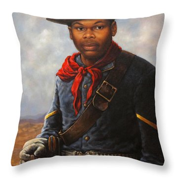 Throw Pillow featuring the painting American Buffalo Soldier by Harvie Brown