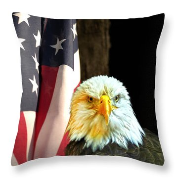 Throw Pillow featuring the photograph American Eagle And American Flag by Randall Branham
