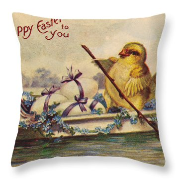 American Easter Card Throw Pillow by Granger